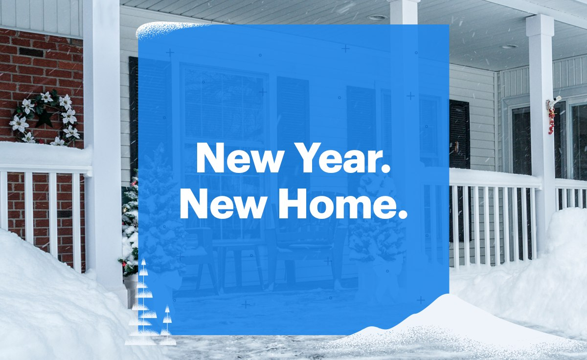 new year new home overlay over snowy house
